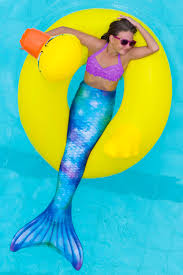 mermaid tail skin for kids and adults watercolor waves