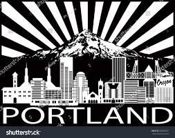 Portland City Flag Portland Oregon Outline Silhouette City Skyline Stock Vector