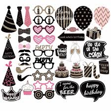 photo booth 41pcs happy birthday photo booth props diy kits birthday
