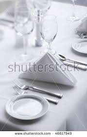 place settings place settings on white dining stock photo 46617949