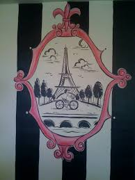 Eiffel Tower Room Ideas Hand Drawn Wall Art Paris Themed Room Purdy Potties U0026 Beds