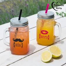 his and hers items items his hers jars with lid and straw pack of 2