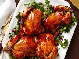 glazed cornish hens with pomegranate rice recipe food