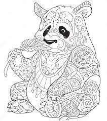panda eating bamboo zentangle coloring page art coloring pages