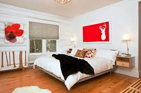 Red And White Modern Bedroom Bedroom Appealing Wall Mounted Bedside Table With Bookcase And