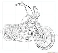 how to draw a chopper bike step by step drawing tutorials