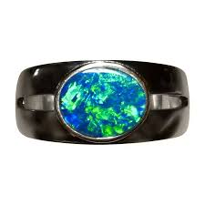 real blue opal blue opal ring men oval solitaire flashopal