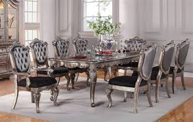 Silver Dining Table And Chairs Chantelle 7 Piece Dining Set In Antique Silver Finish By Acme 60540