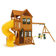 Cedar Playsets Amazon Com Cedar Summit Play Set Wooden House Deck Swings