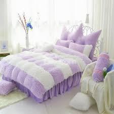 noble purple and white color block 4 piece velvet fluffy bedding
