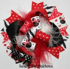 minnie mouse hair bow pink black hairbow boutique hairbows