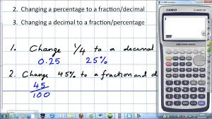 fractions decimals and percentages with a calculator youtube