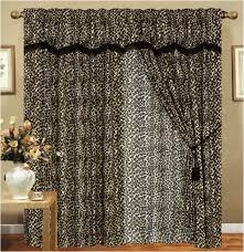 leopard animal kingdom curtain set w valance sheer tassels