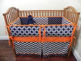 Chevron Boy Crib Bedding Custom Baby Bedding Set Navy Chevron W Orange By Babybeddingbyjbd