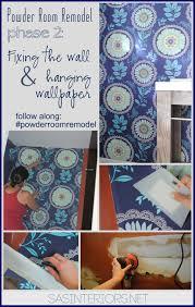 Powder Room Art Powder Room Remodel Repairing Wall And Hanging Wallpaper Jenna