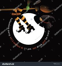 flying witch legs hat halloween party stock illustration 320422037