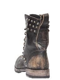 brown leather biker boots frye 25mm rogan studs leather biker boots in black lyst