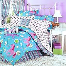 Teal And Purple Comforter Sets Amazon Com 5pc Pink Purple Horse Pony Twin Comforter Set