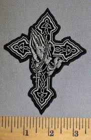 4557 cp cross with praying emboidery patch
