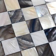 Shell Mosaic Tiles Black  White Mother Of Pearl Tile Backsplash - Seashell backsplash
