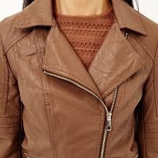 river island brown leather look faux fur biker jacket in brown lyst