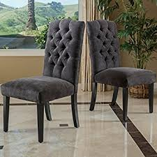 Dining Chairs Grey Gray Tufted Dining Chairs Jannamo