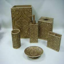 ceramic bath accessories set with solid wood and burberry pattern