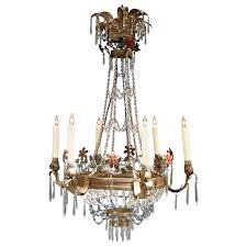 Tole Chandelier 19th Century Italian Empire Crystal Beaded And Floral Tole