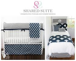 Black And White Crib Bedding For Boys Navy Grey Swiss Cross Sibling Shared Suite Bedding Collection