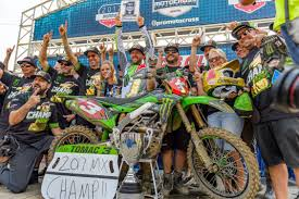 pro motocross racer monster energy kawasaki and eli tomac clinch 450 pro motocross