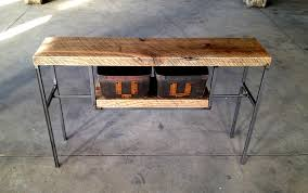 reclaimed wood entry table reclaimed wood entry table with vintage bins shellback iron works