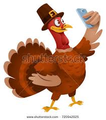 thanksgiving day turkey hat selfie stock vector 720942025