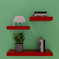 three floating wall shelf racks for storage u0026 display red