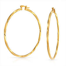 gold circle earrings large twisted yellow gold filled hoop earrings 2 25 inch