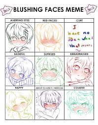 Blushing Meme - blushing faces meme by jojobania on deviantart
