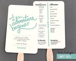 Fan Wedding Program Template The Adventure Begins Wedding Program Fan Cool Colors