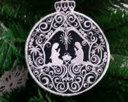 set of 3 snowflake ornament embroidered lace