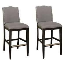 ahb chase bar stool black with smoke linen upholstery set of 2