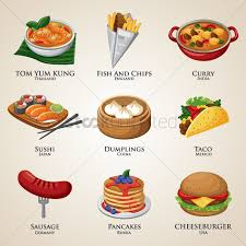 a collection of food around the world vector image 1828419