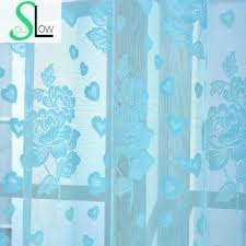 Blue And White Floral Curtains Soul White Pink Sky Blue Jacquard Curtain Pastoral Floral