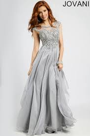 flowy cap sleeved silver evening gown with crystal detail jovani