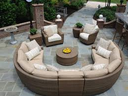 Outdoor Round Patio Table Decor Round Patio Furniture With Wicker Rattan Furniture Outdoor
