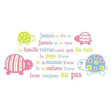 sticker pour chambre bébé sticker mural comptine tortues pour chambre bébé fille