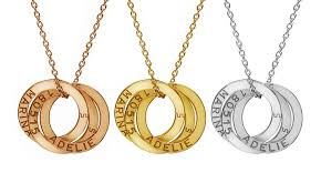 ring charms necklace images Personalized interlocking ring pendants groupon jpg