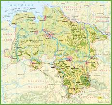 geographical map of germany lower saxony maps germany maps of lower saxony land