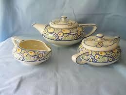 american belleek lenox teapot creamer sugar bowl set deco