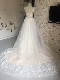 d284 real photos wedding bridal gowns champagne liner empire