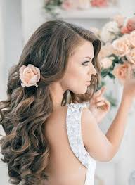 2017 long pulled back loose waves wedding hairstyle
