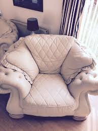 Chesterfield Style Armchair Chesterfield Style Armchair In Cream Italian Leather In