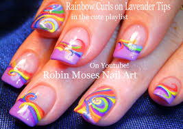 robin moses nail art rainbow curls on lavender tips nail art